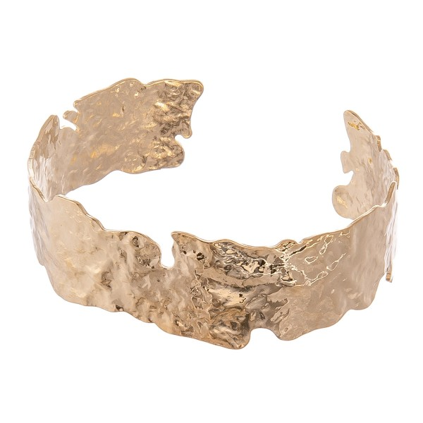 "Nugget Cut Cuff Bracelet.  - Approximately 2.25"" in diameter - Fits up to a 5"" wrist"