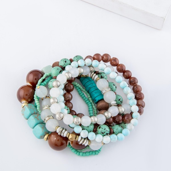 "Chunky Mint Semi Precious Heishi Beaded Boho Stacking Bracelet Set.  - 8pcs/set - Approximately 3"" in diameter unstretched - Fits up to a 7"" wrist"