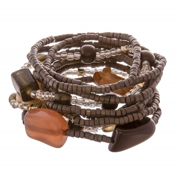 Wholesale hematite Rondelle Beaded Stacking Stretch Bracelet Set Resin Wood Glas