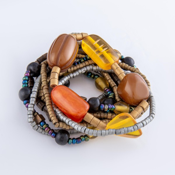 "Two Tone Rondelle Natural Wood Beaded Stacking Stretch Bracelet with Resin Statement Bead Details and Multicolor Accents.  - 12pcs/set - 2.5mm, 4mm Bead Sizes - Approximately 3"" in diameter - Fits up to a 7"" wrist"