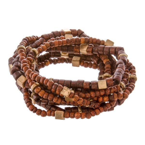 "Natural Brown Heshi Wood Beaded Stacking Stretch Bracelet Set with Gold  Block Accents.  - 8pcs/set - 3mm, 4mm Bead Size - Approximately 3"" in diameter - Fits up to a 7"" wrist"
