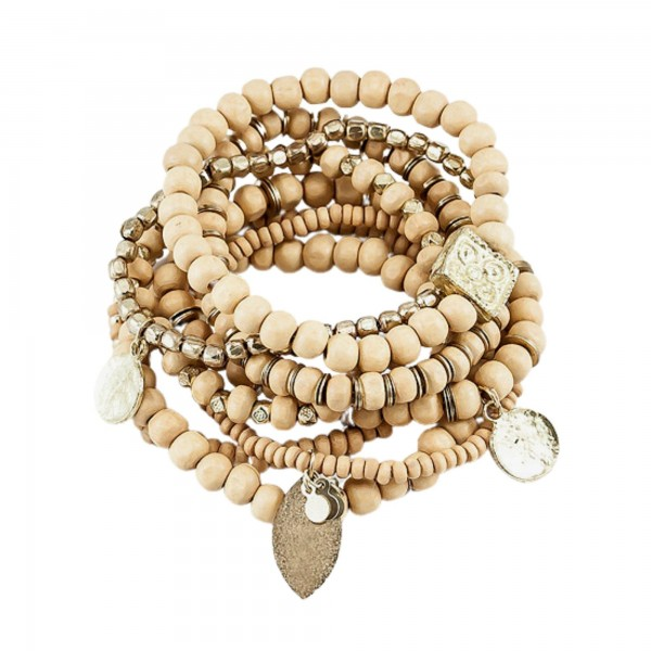 Wholesale natural Brown Wood Beaded Stacking Charm Stretch Bracelet Set Gold Acc