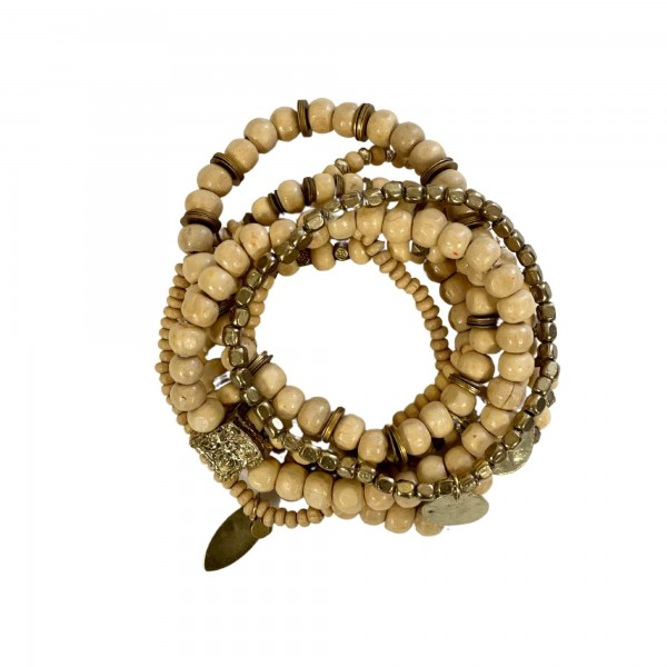 """8 PC Wood Beaded Stackable Charm Stretch Bracelet Set with Gold Accents.  - 8 PCS Per Set - 2mm, 3mm, 6mm, 8mm Bead Sizes - Approximately 3"""" in diameter"""