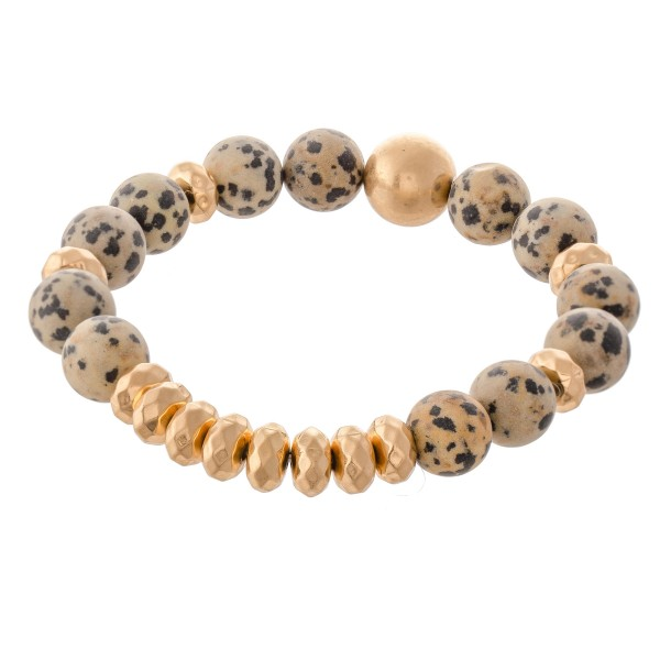 Wholesale semi Precious Natural Stone Beaded Stretch Bracelet diameter Fits up w