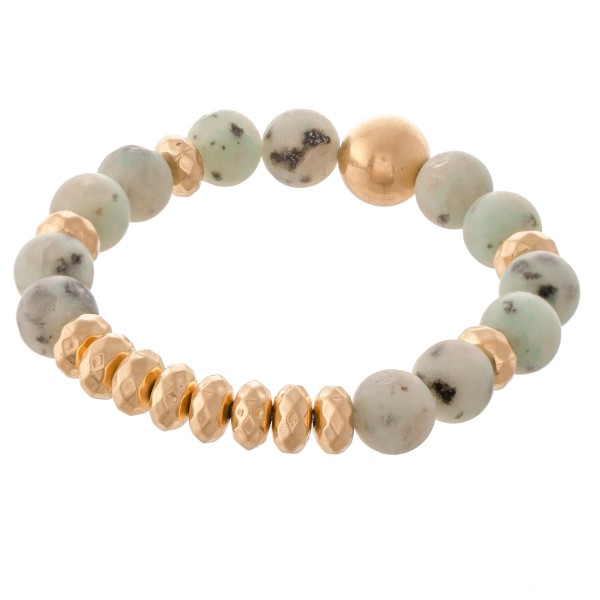 "Semi Precious Natural Stone Beaded Stretch Bracelet.  - Approximately 3"" in diameter - Fits up to a 7"" wrist"