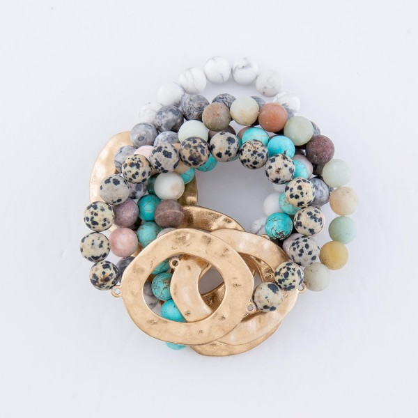 """Semi Precious Natural Stone Beaded Stretch Bracelet with Gold Hammered Focal.  - Focal 1.5"""" in diameter - Approximately 3"""" in diameter unstretched  - Fits up to a 7"""" wrist"""