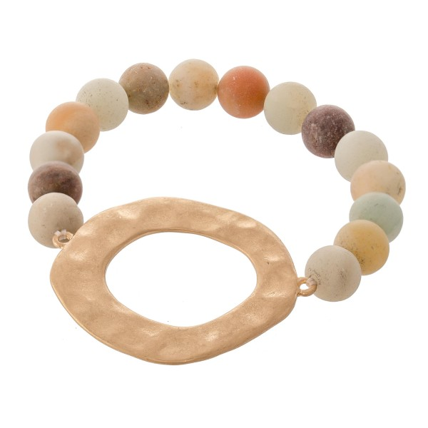 Wholesale semi Precious Natural Stone Beaded Stretch Bracelet Gold Hammered diam