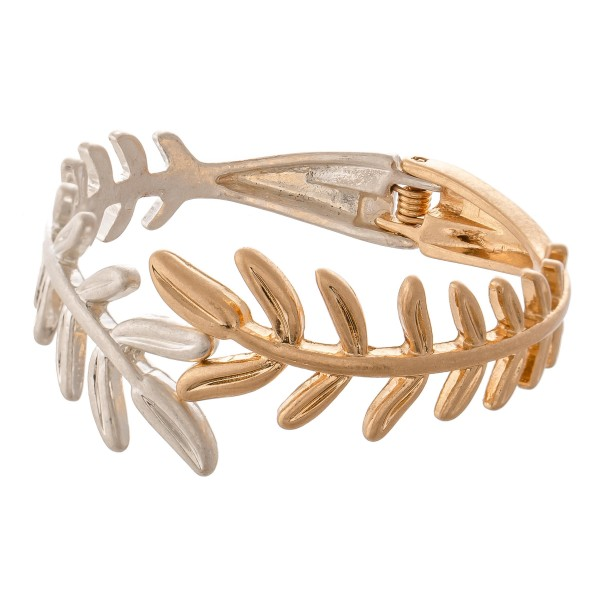 "Two Tone Metal Leaf Hinge Bangle Bracelet.  - Approximately 2.5"" in diameter - Fits up to a 5"" wrist"