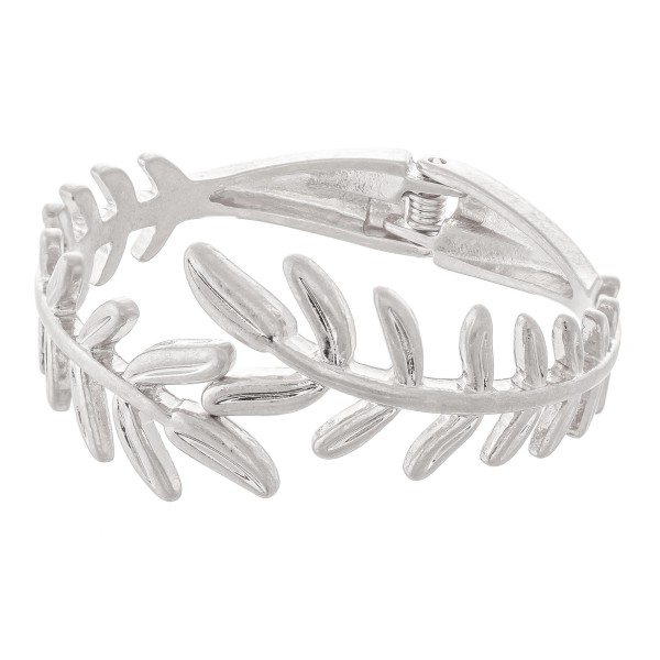 Wholesale metal Leaf Hinge Bangle Bracelet Worn Silver diameter Fits up wrist