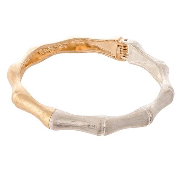 "Two Tone Bamboo Hinge Bangle Bracelet.  - Approximately 2.5"" in diameter - Fits up to a 5"" wrist"