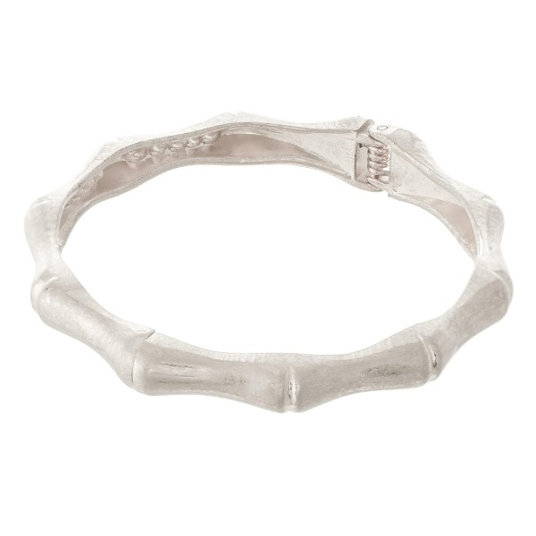 "Bamboo Hinge Bangle Bracelet in Worn Silver.  - Approximately 2.5"" in diameter - Fits up to a 5"" wrist"