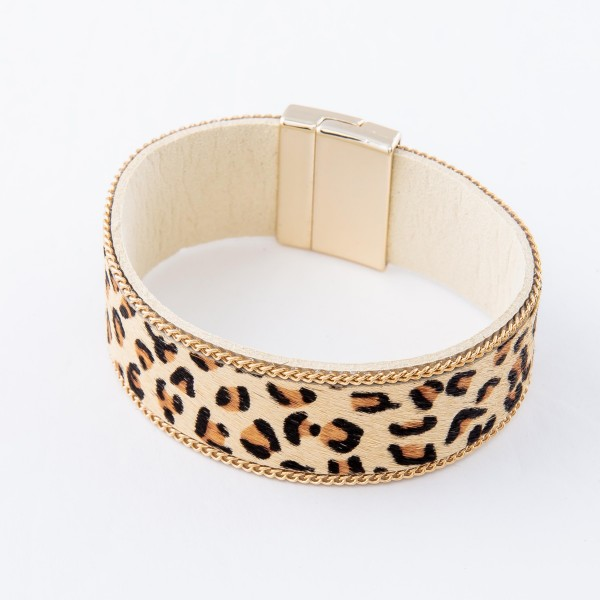 "Ivory Faux Leather Leopard Print Magnetic Bracelet.  - Magnetic Bracelet - Approximately 3"" in diameter - Fits up to a 7"" wrist"