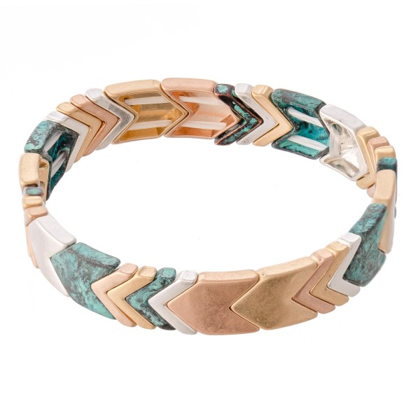 "Patina Multi Tone Chevron Stretch Bracelet.  - Approximately 3"" in diameter - Fits up to a 7"" wrist"