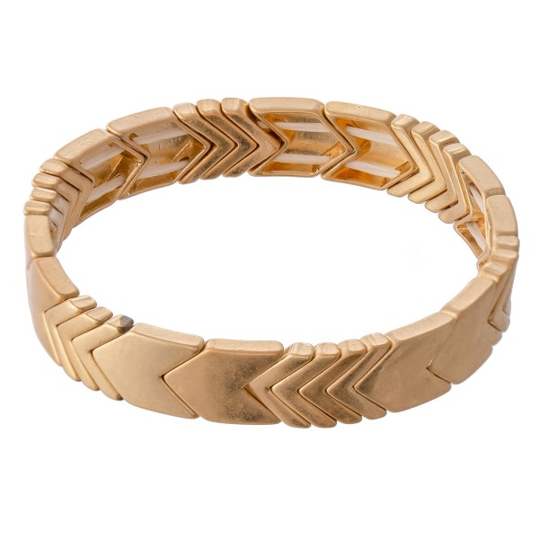 "Chevron Stretch Bracelet in Worn Gold.  - Approximately 3"" in diameter - Fits up to a 7"" wrist"