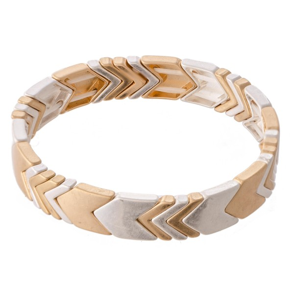 """Two Tone Chevron Stretch Bracelet.  - Approximately 3"""" in diameter - Fits up to a 7"""" wrist"""