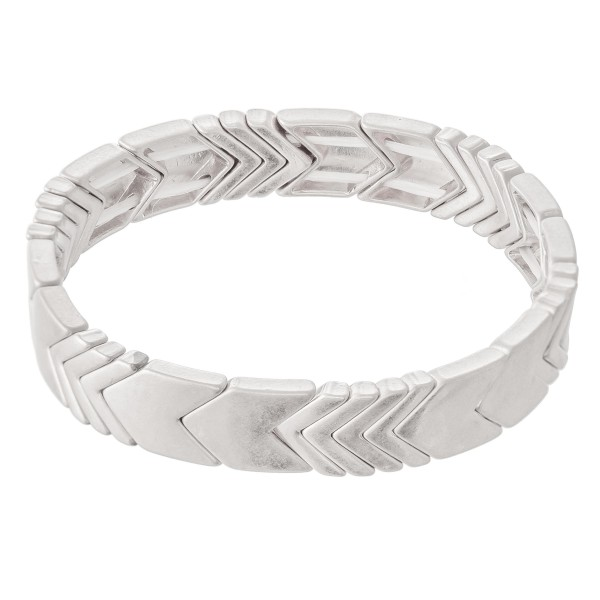 "Chevron Stretch Bracelet in Worn Silver.  - Approximately 3"" in diameter - Fits up to a 7"" wrist"