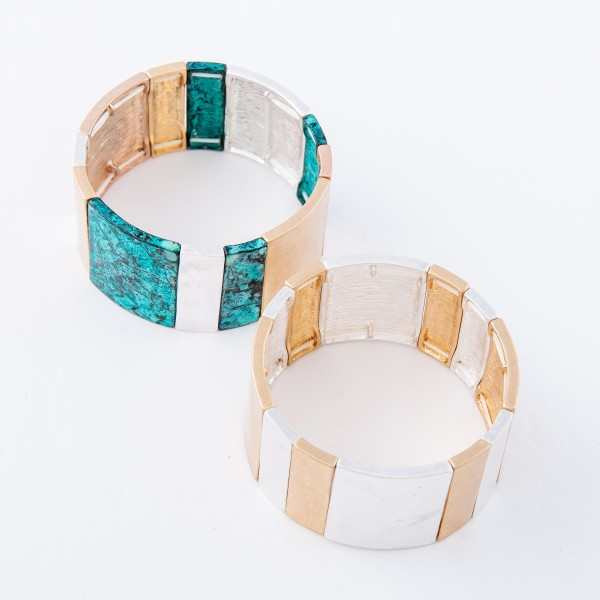 "Patina Multi Tone Tile Statement Stretch Bracelet.  - Approximately 3"" in diameter - Fits up to a 7"" wrist"
