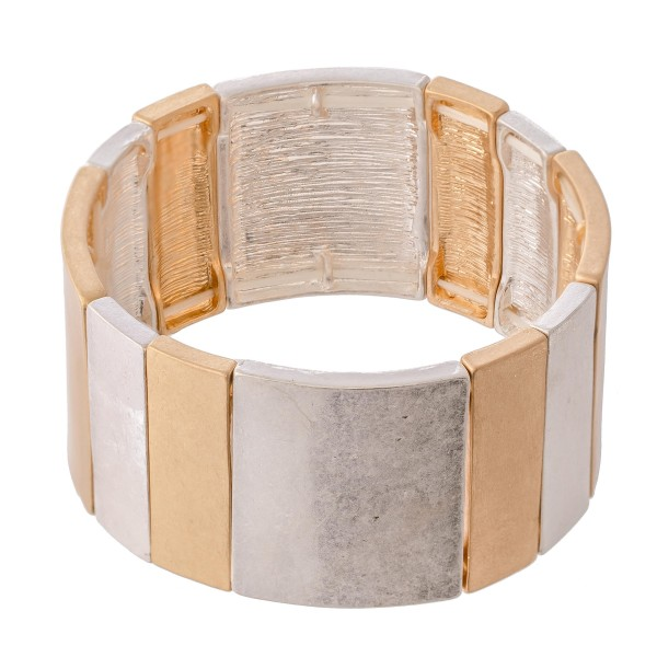 "Two Tone Tile Statement Stretch Bracelet.  - Approximately 3"" in diameter - Fits up to a 7"" wrist"