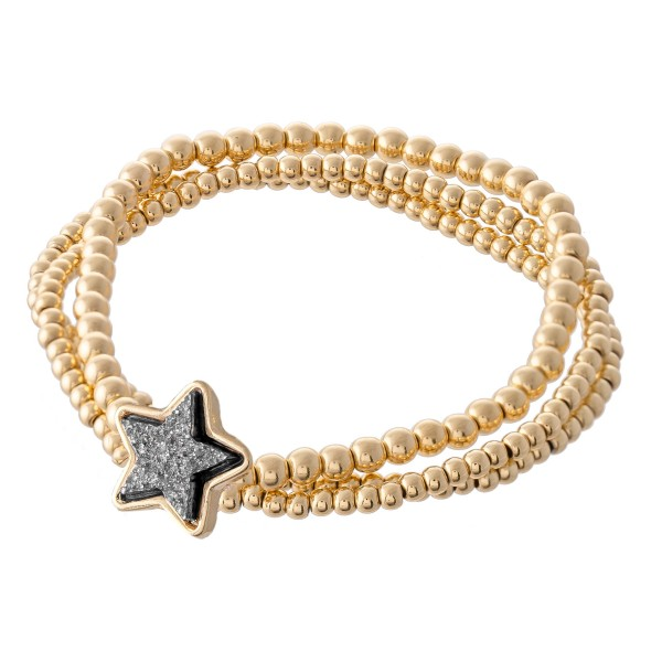 "Gold Beaded Druzy Star Stretch Bracelet Set.  - 3pcs/set - Approximately 3"" in diameter - Fits up to a 7"" wrist"