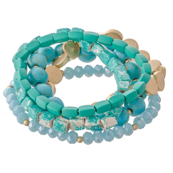 "Natural Stone Beaded Stretch Bracelet Set with Worn Detailing.  - 5pcs/set - Approximately 3"" in diameter - Fits up to a 7"" wrist"