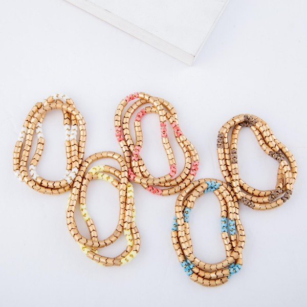 "Snake Beaded Stretch Bracelet Set.  - 3pcs/set - Approximately 3"" in diameter - Fits up to a 7"" wrist"