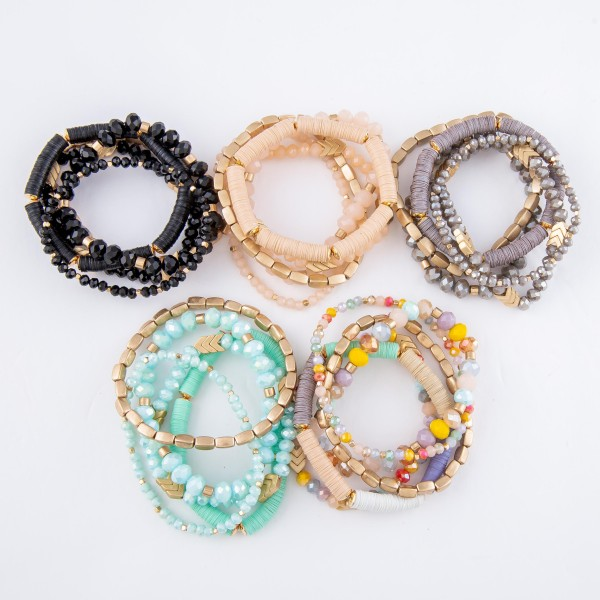 "Beaded Stackable Stretch Bracelet Set Featuring Sequins & Chevron Bead Details.  - 5pcs/set - Approximately 3"" in diameter - Fits up to a 7"" wrist"