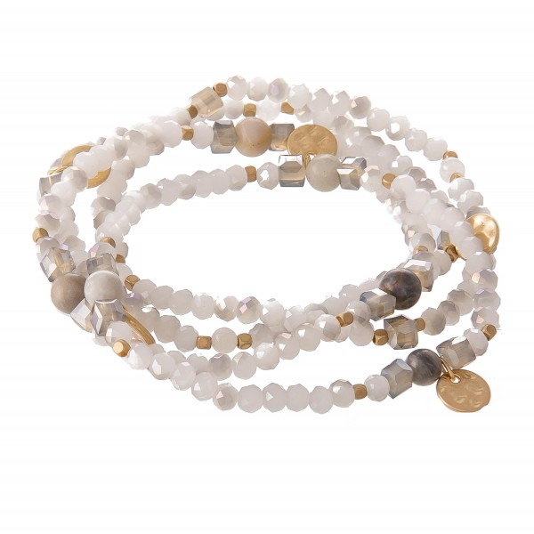 Wholesale faceted Beaded Stretch Bracelet Set Natural Stone Beads Gold Accents p