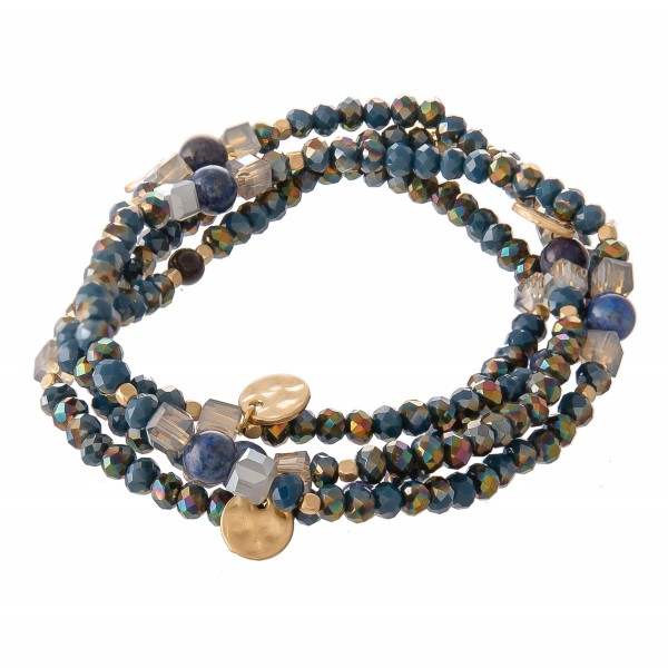 "Faceted Beaded Stretch Bracelet Set with Natural Stone Beads and Gold Accents.  - 4pcs/set - Approximately 3' in diameter - Fits up to a 7"" wrist"
