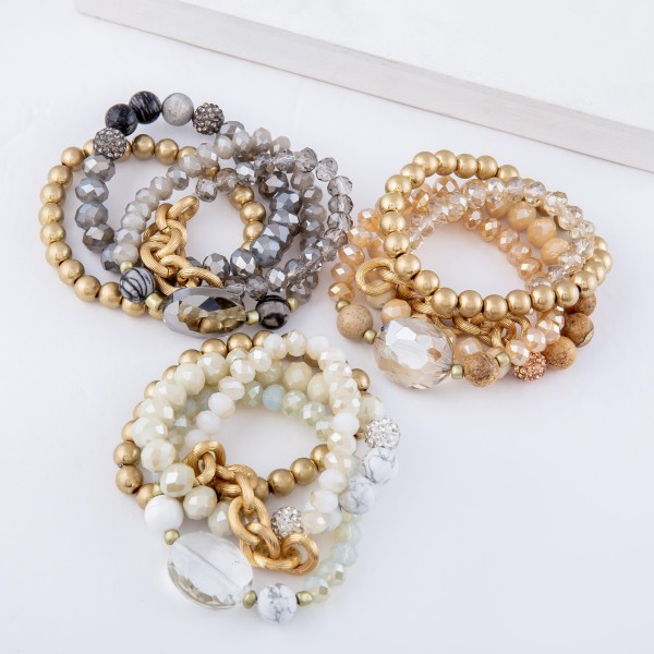 "Semi Precious Beaded Stackable Stretch Bracelet Set Featuring Chain Link, Rhinestone & Glass Bead Details.  - 4pcs/set - Approximately 3"" in diameter - Fits up to a 7"" wrist"
