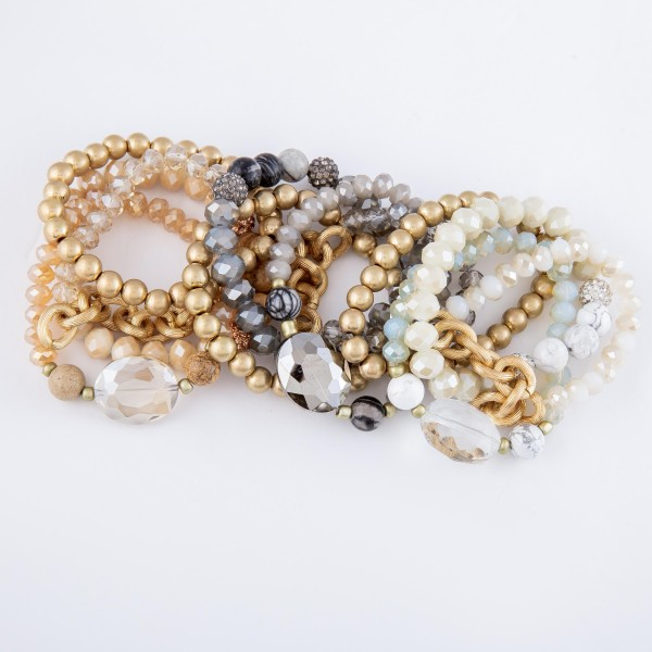 """Semi Precious Beaded Stackable Stretch Bracelet Set Featuring Chain Link, Rhinestone & Glass Bead Details.  - 4pcs/set - Approximately 3"""" in diameter - Fits up to a 7"""" wrist"""