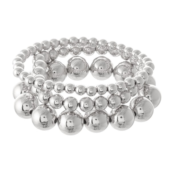 "CCB Stackable Statement Stretch Bracelet Set.  - 3pcs/set - Bead Sizes 5mm, 7mm, 12mm - Approximately 3"" in diameter - Fits up to a 7"" wrist"