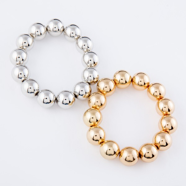 """CCB Statement Stretch Bracelet.  - Bead Size 12mm - Approximately 3"""" in diameter - Fits up to a 7"""" wrist"""