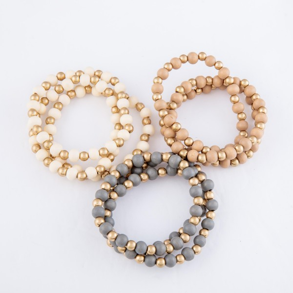 "Wood Beaded Stretch Bracelet Set Featuring Gold Accents.  - 3pcs/set - Approximately 3"" in diameter - Fits up to a 7"" wrist"