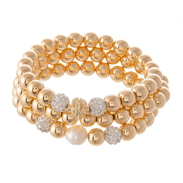 "CCB Rhinestone Beaded Stretch Bracelet Set Featuring a Pearl Accent.  - 3pcs/set - Approximately 3"" in diameter - Fits up to a 7"" wrist"