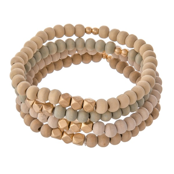 "Multi Wood Beaded Stretch Bracelet Set Featuring Gold Accents.  - 4pcs/set - Approximately 3"" in diameter - Fits up to a 7"" wrist"