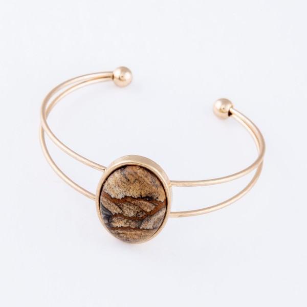 "Natural Stone Cuff Bracelet in Worn Gold.  - Focal approx. 1""  - Approximately 2.25"" in diameter - Fits up to a 5"" wrist"
