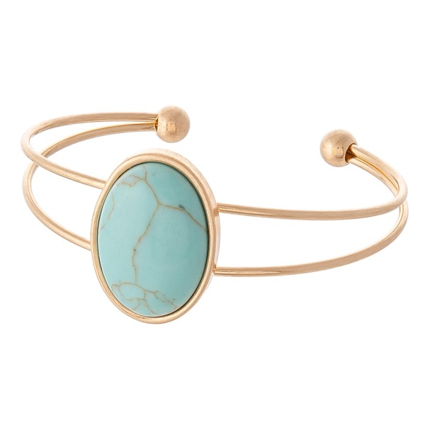 Wholesale natural Stone Cuff Bracelet Worn Gold approx diameter Fits up wrist