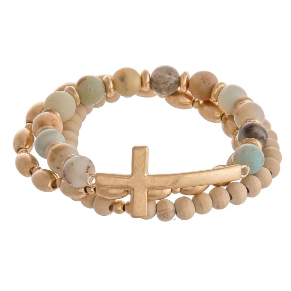 "Semi Precious East West Cross Stretch Bracelet Set.  - 3pcs/set - Cross Focal approx. 1.5""  - Approximately 3"" in diameter - Fits up to a 7"" wrist"