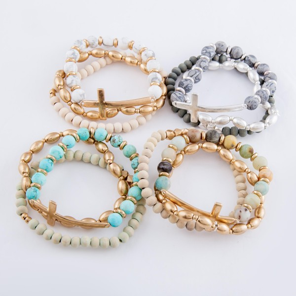 """Semi Precious East West Cross Stretch Bracelet Set.  - 3pcs/set - Cross Focal approx. 1.5""""  - Approximately 3"""" in diameter - Fits up to a 7"""" wrist"""