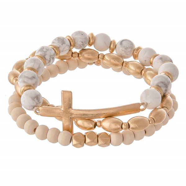 Wholesale semi Precious East West Cross Stretch Bracelet Set pcs set Cross appro