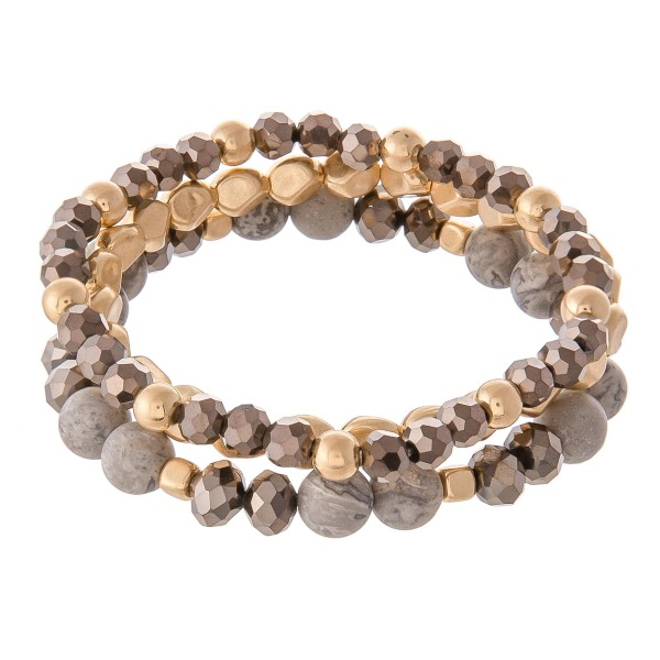 "Semi Precious Beaded Stretch Bracelet Set Featuring Natural Stone Details.  - 3pcs/set - Approximately 3"" in diameter - Fits up to a 7"" wrist"
