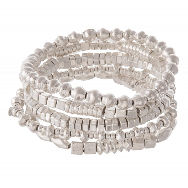 "Silver Tone Multi Beaded Stretch Bracelet Set.  - 5pcs/set - Approximately 3"" in diameter - Fits up to a 7"" wrist"