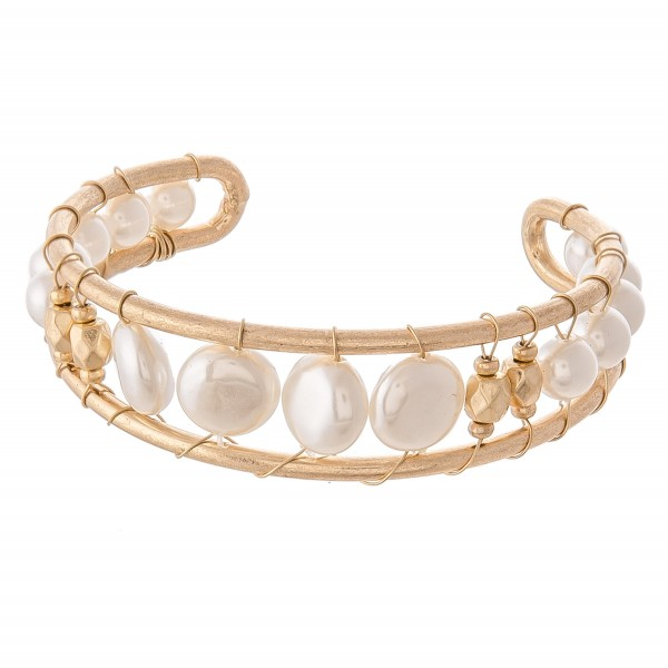 Wholesale ivory Pearl Wire Wrapped Cuff Bracelet Worn Gold diameter Fits up wris