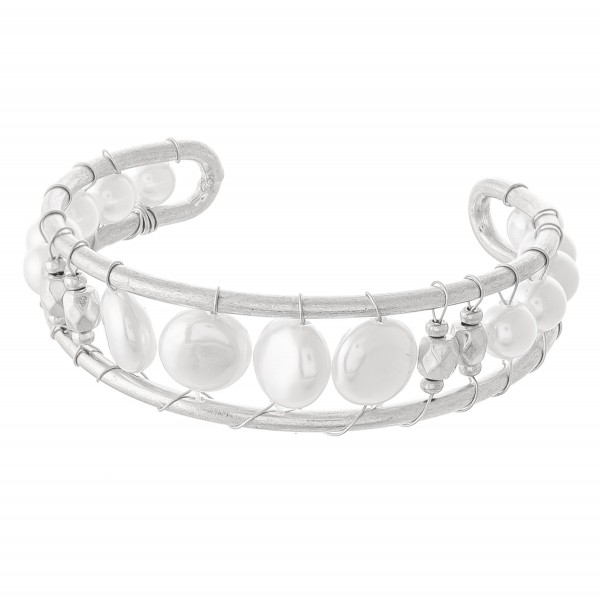"Ivory Pearl Wire Wrapped Cuff Bracelet in Worn Silver.  - Approximately 2.5"" in diameter - Fits up to a 5"" wrist"