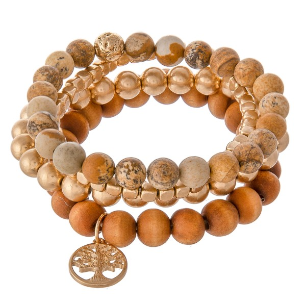 Wholesale semi Precious Beaded Tee Life Stretch Bracelet Set Natural Stone Wood