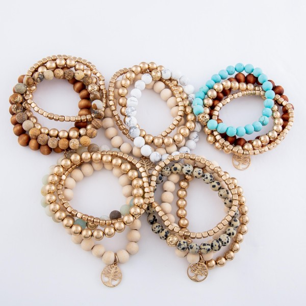 """Semi Precious Beaded Tee Of Life Stretch Bracelet Set Featuring Natural Stone & Wood Details.  - 4pcs/set - Approximately 3"""" in diameter - Fits up to a 7"""" wrist"""