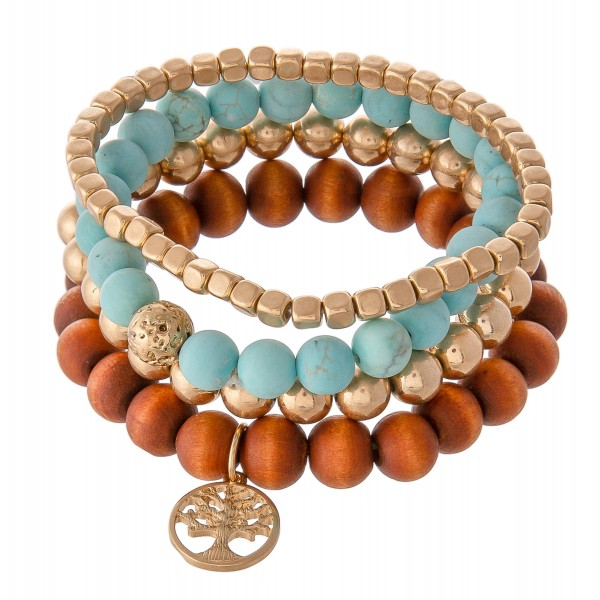 "Semi Precious Beaded Tee Of Life Stretch Bracelet Set Featuring Natural Stone & Wood Details.  - 4pcs/set - Approximately 3"" in diameter - Fits up to a 7"" wrist"