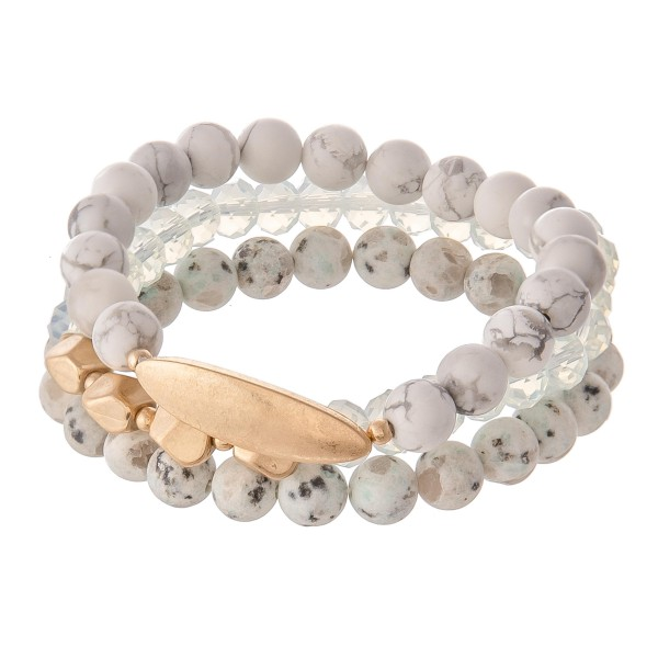 "Semi Precious Natural Stone Beaded Stretch Bracelet Set.  - 3pcs/set - Approximately 3"" in diameter. - Fits up to a 7"" wrist"