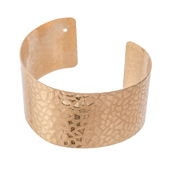 "Textured Cuff Bracelet in Worn Gold.  - Approximately 2.25"" in diameter - Fits up to a 5"" wrist"