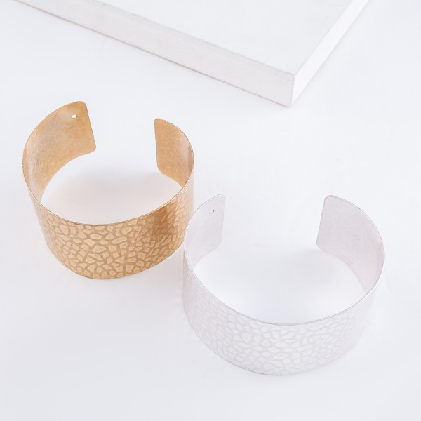 """Textured Cuff Bracelet in Worn Gold.  - Approximately 2.25"""" in diameter - Fits up to a 5"""" wrist"""